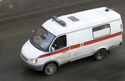 Ambulance rescue ambulance car driving fast Royalty Free Stock Photos
