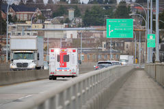 Ambulance Responding to 9-1-1 Call Royalty Free Stock Photography