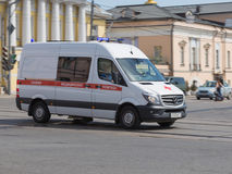 Ambulance rides on call. Moscow - May 9, 2015: Car ambulance rides on an urgent call May 9, 2015, Moscow, Russia Royalty Free Stock Photo