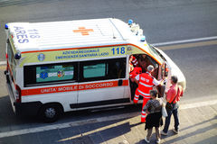Ambulance. Rome, Italy - 12 September, 2013: Ambulance emergency call in downtown Royalty Free Stock Photos
