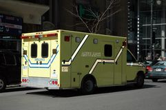 Ambulance in route. To hospital with patient Stock Photos