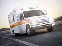 Ambulance running with lights and sirens on a street with motion blur. Photo realistic 3d model scene Stock Photography