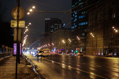 Ambulance russe la nuit à Moscou Photo libre de droits