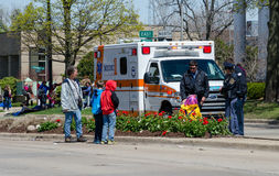 Ambulance at scene of an accident Stock Images