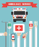 Ambulance  Service Flat background with hand Stock Photos