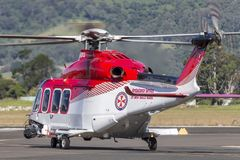 Ambulance Service of New South Wales AgustaWestland AW-139 VH-SYJ Air Ambulance Helicopter. Albion Park, Australia - May 4, 2014: Ambulance Service of New South stock photo