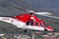 Ambulance Service of New South Wales AgustaWestland AW-139 VH-SYJ Air Ambulance Helicopter. Albion Park, Australia - May 4, 2014: Ambulance Service of New South royalty free stock photo