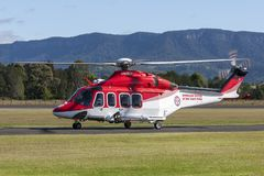 Ambulance Service of New South Wales AgustaWestland AW-139 VH-SYJ Air Ambulance Helicopter at Illawarra Regional Airport. Albion Park, Australia - May 4, 2014 royalty free stock photo