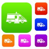 Ambulance set collection. Ambulance set icon in different colors isolated vector illustration. Premium collection Royalty Free Stock Images