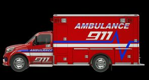 Ambulance: Side view of emergency services vehicle over black. Ambulance: e view of emergency services vehicle over black. Custom made and rendered Royalty Free Stock Photos
