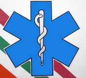 Ambulance sign. Real  italian ambulance sign on white and colour Royalty Free Stock Photo