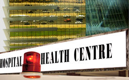 Ambulance signal & hospital, health center. Royalty Free Stock Photo