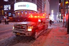 Ambulance in the snow blizzard in Manhattan New York Royalty Free Stock Images
