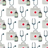 Ambulance stethoscope first aid kit vector medicine health emergency hospital urgent pharmacy pill seamless pattern. Ambulance stethoscope first aid kit vector Stock Photography