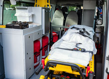 Ambulance. Stretcher at a ambulance car royalty free stock photo