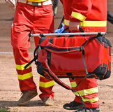 Ambulance stuff with medical equipment Stock Images