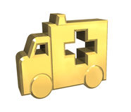 Ambulance symbol in gold - 3d. Made Royalty Free Stock Images
