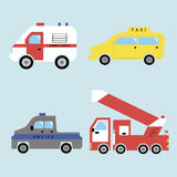 Ambulance, taxi, police and fire-fighting vehicle. Icons of ambulance, taxi, police and fire-fighting vehicle Stock Photography