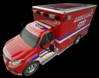 Ambulance: Top Side view of emergency services vehicle on black. Ambulance: Top e view of emergency services vehicle on black. Custom made and rendered Royalty Free Stock Photography