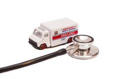 Ambulance toy car and Stethoscope Stock Image