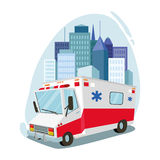 Ambulance. transport, rescue.  cityscape. against the backdrop of the city. Vector illustration art graphic design Royalty Free Stock Image