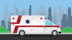 Ambulance transportation vehicle on the road. Vector illustration Stock Image
