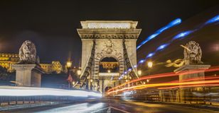 Chain Bridge with long exposure, Budapest, Hungary. Royalty Free Stock Images