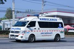 Ambulance van. CHIANG MAI, THAILAND - DECEMBER  26 2014:  Ambulance van of Maejo Subdistrict Administrative Organization.   Photo at road no.1001 about 8 km from Royalty Free Stock Photos
