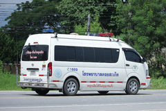 Ambulance van of Doisaket hospital. CHIANGMAI, THAILAND -AUGUST 18 2016:  Ambulance van of Doisaket hospital.  On road no.1001, 8 km from Chiangmai city Royalty Free Stock Image