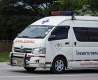 Ambulance van of Doisaket hospital. Chiangmai, Thailand - August 7 2018: Ambulance van of Doisaket hospital. On road no.1001, 8 km from Chiangmai city royalty free stock photo