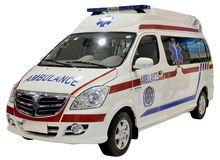 Ambulance van isolated. Chinese ambulance van isolated on white stock photo