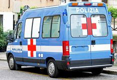 Ambulance van of Italian police and Red Cross Royalty Free Stock Photos