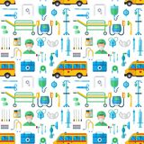 Ambulance medicine health emergency hospital urgent pharmacy pill support paramedic treatment seamless pattern. Ambulance vector mmedicine health emergency Royalty Free Stock Photography