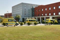 Ambulance vehicles on an hospital parking. Emergency transport royalty free stock photo