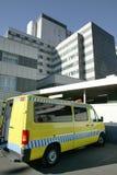 Ambulance vehicles on an hospital parking. Emergency transport stock photos