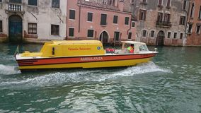 Ambulance in Venice. Ambulance on the water, boat Royalty Free Stock Photos