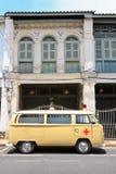Ambulance vintage. With vintage background Stock Image
