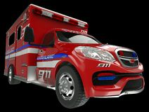 Ambulance: wide angle view of emergency services vehicle on blac. K. Custom made and rendered Stock Photos