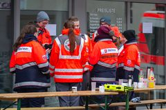 Neuwied, Germany - February 1, 2019: Ambulance men waiting for their next activity stock photography