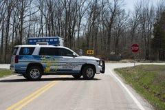 Ambulances block road for coming air ambulance to land Stock Image