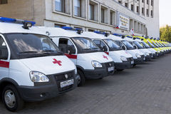 Ambulances near the building Government of Vologda region Royalty Free Stock Images