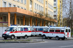 Ambulances are at the substation number 5, Gomel, Belarus Stock Image