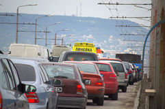 Ambulances in traffic Stock Images
