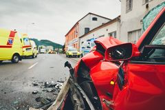 Ambulances for a traffic accident Royalty Free Stock Photos