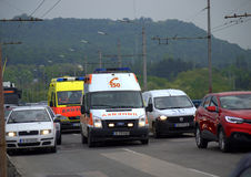 Ambulances in traffic Stock Photography