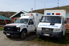 The ambulances in the village of Cameron. Tierra Del Fuego Stock Photography