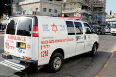 Ambulancia del coche en Tiberíades Imagen de archivo libre de regalías