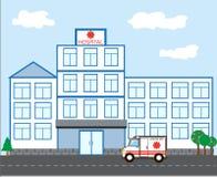 Ambulancias del edificio del hospital y una ambulancia en un funcionamiento plano Imagen de archivo
