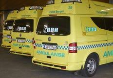 Ambulancias parqueadas Imagen de archivo libre de regalías