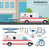 Ambulansbil på gatan i stad Royaltyfri Foto
